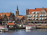 Harbor View with Church Spire, Edam-Volendam, Netherlands Photographic Print by Miva Stock