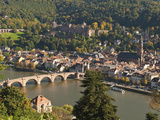 View of Alte Brucke or Old Bridge, Neckar River Heidelberg Castle and Old Town, Heidelberg, Germany Photographic Print by Michael DeFreitas