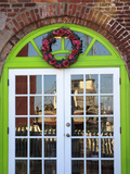 Arched Door with Shrimp Boat Reflection, Apalachicola, Florida, USA Photographic Print by Joanne Wells