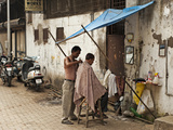 Street Hairdresser, Mumbai, Maharashtra, India Photographic Print by Anthony Asael