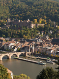 View of Heidelberg's Old Town, Neckar River and Barge from the Philosophenweg, Heidelberg, Germany Photographic Print by Michael DeFreitas