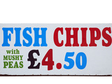 Fish and Chips with Mushy Peas Sign, England, United Kingdom Photographic Print by David Wall