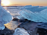 Sunrise and Iceberg Formation on the Beach at Jokulsarlon, Iceland Photographic Print by Tom Norring