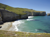 Tourists on Beach and Cliffs at Tunnel Beach, Dunedin, South Island, New Zealand Photographic Print by David Wall