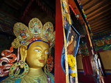 Dalai Lama Picture Beside Maitreya Buddha, Thiksey Monastery, Thiksey, Ladakh, India Photographic Print by Anthony Asael