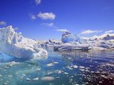 Icebergs and Ice Flows in the Artic Sea, Near Paradise Harbor, Antarctica Photographic Print by Miva Stock