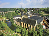 City View of St. Johanneskirche and Abbey Neumuenster, Grund, Luxemburg, Luxembourg Photographic Print by Miva Stock