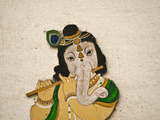 Mural Depicting Ganesha, a Hindu Deity, Inside City Palace, Udaipur, Rajasthan, India Photographic Print by Keren Su