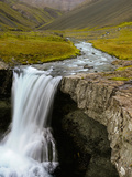 Water Running from Glacier and Waterfall, Iceland Photographic Print by Tom Norring