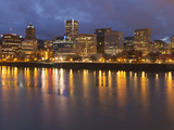City Lights Reflected in the Willamette River, Portland, Oregon, USA Photographic Print by William Sutton