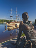 View from Volkhov River with Statue, Novgorod Oblast, Veliky Novgorod, Russia Photographic Print by Walter Bibikow