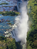 Aerial View of Victoria Falls, Waterfall, and the Zambesi River, Zimbabwe Photographic Print by Miva Stock