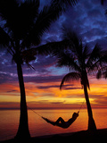 Woman in Hammock, and Palm Trees at Sunset, Coral Coast, Viti Levu, Fiji, South Pacific Photographic Print by David Wall