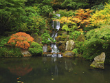 Waterfall in Autumn at the Portland Japanese Garden, Portland, Oregon, USA Photographic Print by Michel Hersen