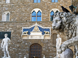 Palazzo Vecchio, Marzocco Lion and Statue of David, Piazza Della Signoria, UNESCO Heritage Site Photographic Print by Nico Tondini
