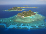 Monuriki Island and Coral Reef, Mamanuca Islands, Fiji Photographic Print by David Wall