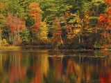 Autumn Reflections, Trickey Pond, Naples, Maine, USA Photographic Print by Michel Hersen