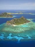 Monuriki Island and Coral Reef, Mamanuca Islands, Fiji Photographic Print by David Wall