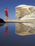 Reflection of Cliffs and Tourist at Tunnel Beach, Dunedin, South Island, New Zealand Photographic Print by David Wall