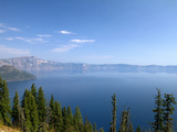 Crater Lake Shrouded in Smoke from Forest Fires, Crater Lake Nat'l Park, Southern Oregon, USA Photographic Print by David R. Frazier