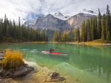 Kayaker on Maligne Lake, Jasper National Park, Alberta, Canada Photographic Print by Gary Luhm