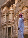 Arab Man Watching Facade of Treasury (Al Khazneh), Petra, Jordan Photographic Print by Keren Su