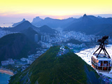 Cable Car to Sugar Loaf Mountain, Rio De Janiero, Brazil Photographic Print by Miva Stock