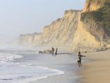 Kids Playing on Beach, Santa Cruz Coast, California, USA Photographic Print by Tom Norring