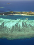 Mana Island and Coral Reef, Mamanuca Islands, Fiji Photographic Print by David Wall