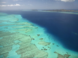 Malolo Barrier Reef and Malolo Island, Mamanuca Islands, Fiji Photographic Print by David Wall