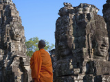 Monk with Huge Smiling Face at Bayon Temple, Angkor Thom, Cambodia Photographic Print by Keren Su