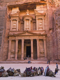 Camels at the Facade of Treasury (Al Khazneh), Petra, Jordan Photographic Print by Keren Su