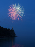 Fireworks, Split Rock Lighthouse, Minnesota, USA Photographic Print by Peter Hawkins