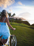 Woman Bike Riding, Makai Golf Course, Kauai, Hawaii, USA Photographic Print by Micah Wright