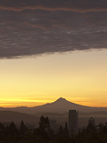 Dawn Sky over Portland and Mt. Hood, Oregon, USA Photographic Print by William Sutton