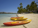 Kayaks on the Beach, Plantation Island Resort, Malolo Lailai Island, Mamanuca Islands, Fiji Photographic Print by David Wall