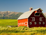 Wallowa Mountains and White Barn in Field Near Joseph, Wallowa County, Oregon, USA Photographic Print by Nik Wheeler