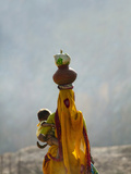Village Woman Carrying Baby and Load on the Head, Udaipur, Rajasthan, India Photographic Print by Keren Su