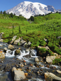Mount Rainier from Paradise with Stream, Mount Rainier National Park, Washington, USA Photographic Print by Michel Hersen