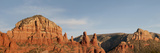 Panoramic View of Red-Rock Mountains Hosting Chapel, Madonna and Child and the Nuns, Arizona, USA Photographic Print by Jan & Stoney Edwards