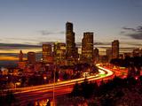 Seattle Skyline at Dusk, Seattle, Washington, USA Photographic Print by Richard Duval