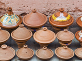 Pottery Pans (Tajiniere) for Sale, Souk in the Medina, Marrakech (Marrakesh), Morocco, North Africa Photographic Print by Nico Tondini