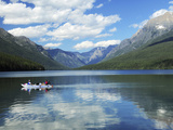 Boating on Bowman Lake, Glacier National Park, Montana, USA Photographic Print by Michel Hersen