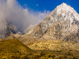 Snow Covered Peak, Eastern Sierra Foothills, California, USA Photographic Print by Tom Norring