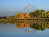 Grand Tetons in Autumn from the Oxbow, Grand Teton National Park, Wyoming, USA Photographic Print by Michel Hersen