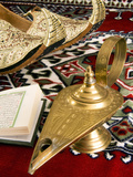 Lamp of Aladdin, Arabic Shoes, Holy Quran on a Carpet, Egypt Photographic Print by Nico Tondini