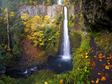 Tunnel Falls in a Fall Color Scene on Eagle Creek in the Columbia Gorge, Oregon, USA Photographic Print by Gary Luhm