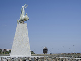 Waterfront Statue and Windmill, UNESCO World Heritage Site, Nessebur, Bulgaria Photographic Print by Cindy Miller Hopkins
