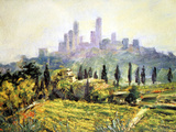 Impressionistic Painting, San Gimignano, Italy Photographic Print by Miva Stock