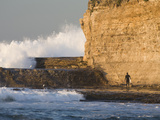Surfer Sizing Up the Challenge, Santa Cruz Coast, California, USA Photographic Print by Tom Norring